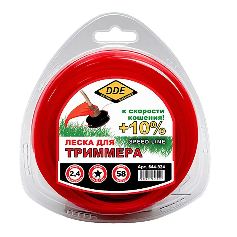 Леска для триммера DDE Speed Line 2.4mm x 58m Red 644-924