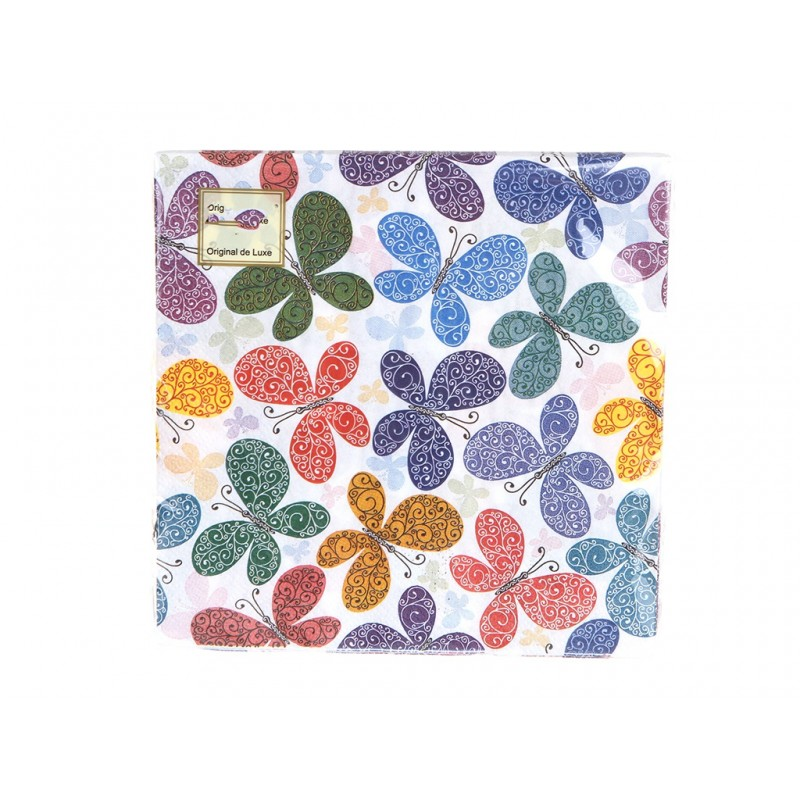 Салфетки бумажные Хамелеон Бабочки 2-слойные 33cm 20шт VPH307