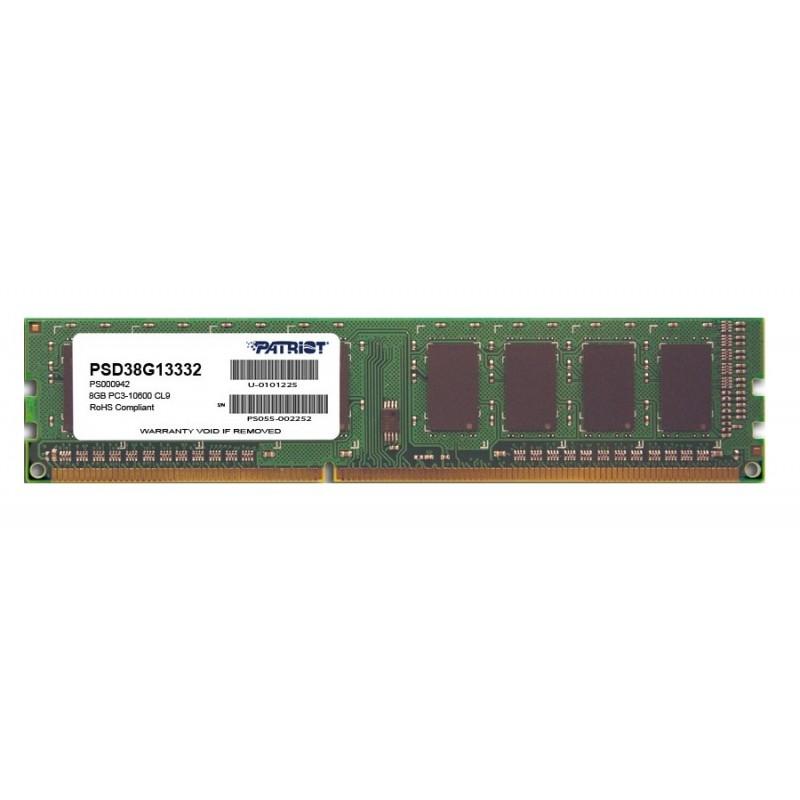 Модуль памяти Patriot Memory DDR3 DIMM 1333MHz PC3-10600 - 8Gb PSD38G13332