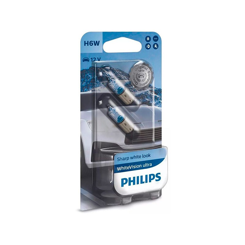 Лампа Philips WhiteVision Ultra H6W 12V-6W (BAX9s) 2шт 12036WVUB2