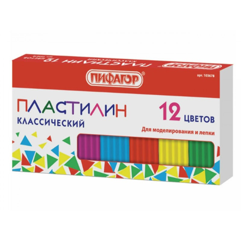 Набор для лепки Пифагор Пластилин 12 цветов 120g 103678