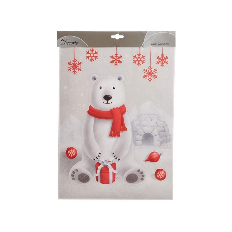 Украшение Kaemingk Наклейка Белый мишка 29.5x40cm 461740