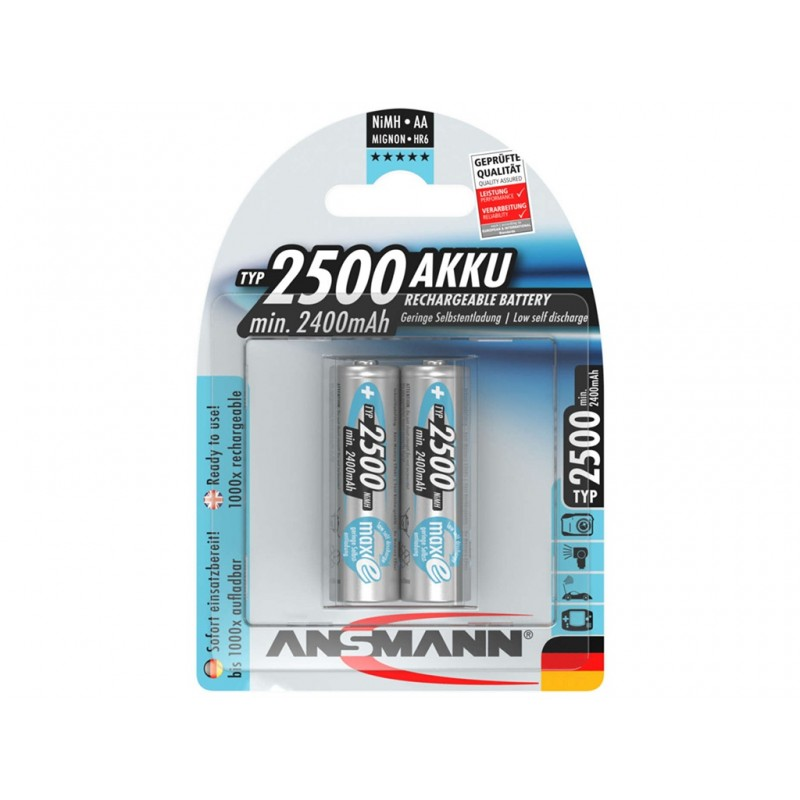 Аккумулятор AA - Ansmann MaxE 2500mAh BL2 (2 штуки) 5035432-RU / 17258
