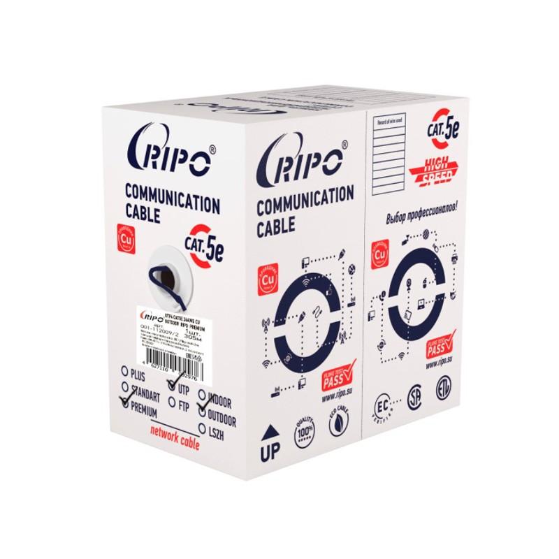 Сетевой кабель Ripo Premium UTP cat.5e 24AWG Cu Outdoor 305m 001-112009/2