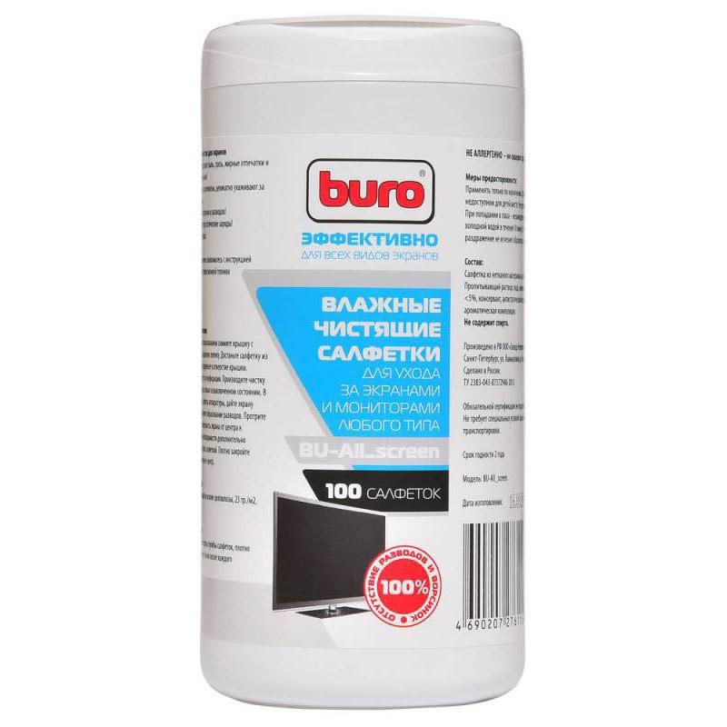 Салфетки влажные Buro 100шт BU-All_Screen