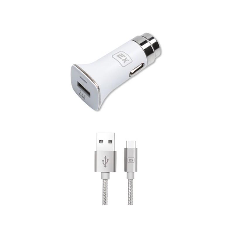 Зарядное устройство Exployd Sonder 1xUSB 2.4A QC3.0 + кабель Type-C White EX-Z-633